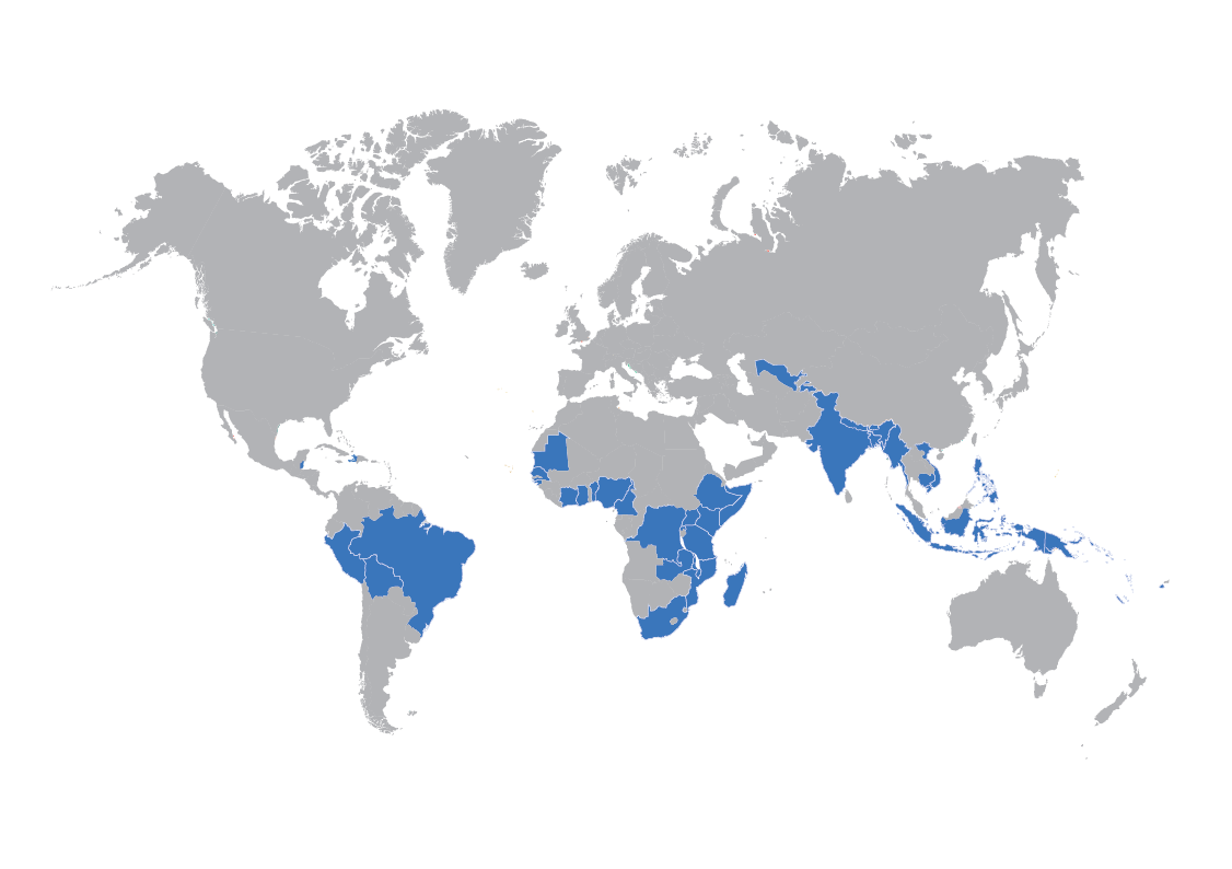 Global map with SATO business countries